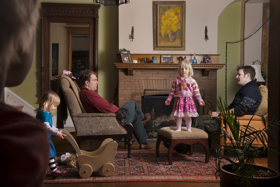 Abby sees Hugh in the Front Hall,  2013 Archival pigment print 16 x 20 inches, edition of 10 26 5⁄8 x 40 inches, edition of 10