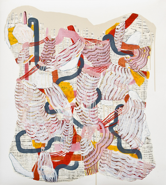 Premonition (bony), 2010, by Alyse Rosner, serpentine, woodgrain and fine line pattern, multicolor, abstract, graphite, ink and acrylic painting on yupo.