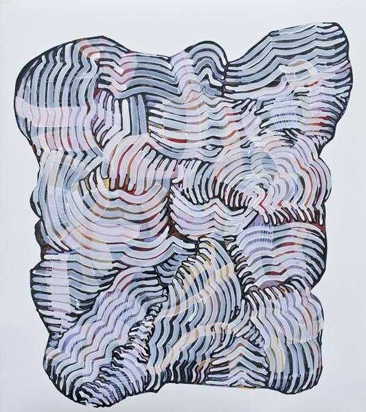 Premonition (lavender), 2010, by Alyse Rosner, undulating and fine line pattern, multicolor, abstract, graphite, ink and acrylic painting on yupo.