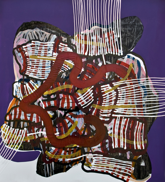 Shift (purple), 2012, by Alyse Rosner, serpentine, grid and fine line pattern, multicolor, abstract, graphite, ink and acrylic painting on yupo.