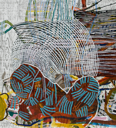 Out Loud, 2013, by Alyse Rosner, undulating line, woodgrain and fine line pattern, multicolor, abstract, graphite, ink and acrylic painting on yupo.