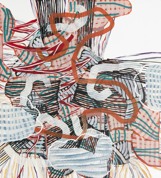Ramshackle, 2012 by Alyse Rosner, serpentine, grid and fine line pattern, multicolor, abstract, graphite, ink and acrylic painting on yupo