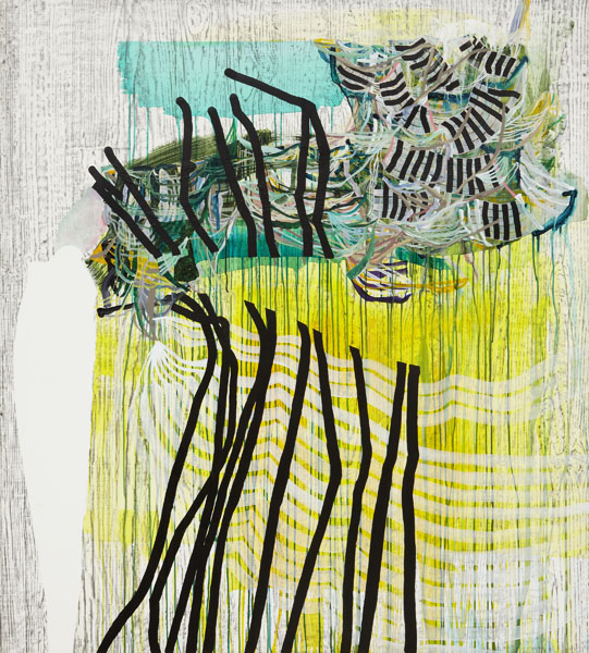 Split (yellow), 2013, by Alyse Rosner, abstract, multicolor, fine line, serpentine, drip and woodgrain pattern, graphite and acrylic on yupo.