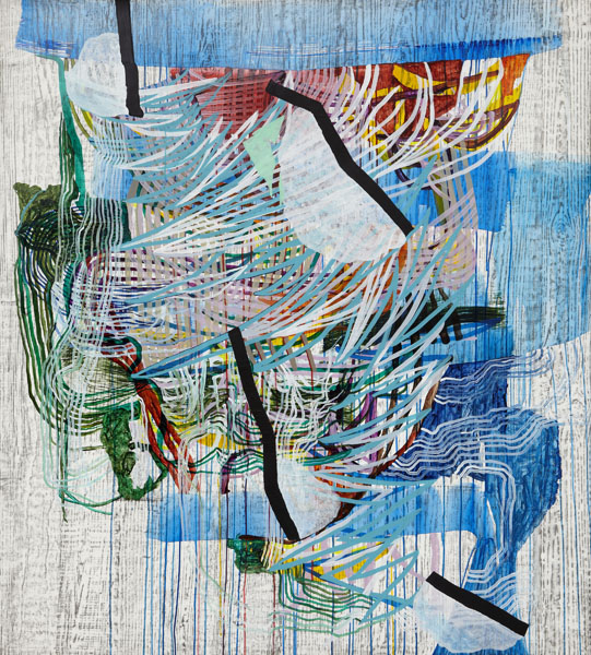 Verge (blue), 2013, by Alyse Rosner, abstract, multicolor, fine line,  drip and woodgrain pattern, graphite and acrylic painting on yupo.