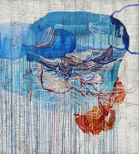 Disturbance, 2013, by Alyse Rosner, abstract, multicolor, fine line,  drip and woodgrain pattern, graphite and acrylic painting on yupo.