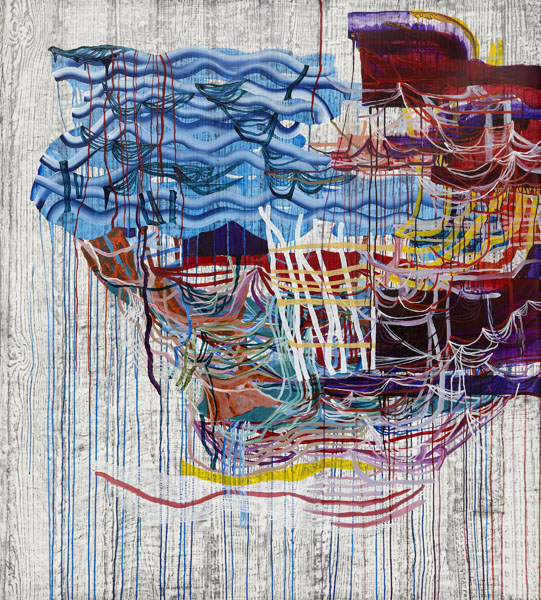 Stir, 2013, by Alyse Rosner, abstract, multicolor, fine line,  drip and   woodgrain pattern, graphite and acrylic painting on yupo.
