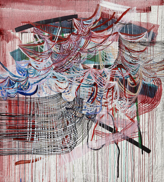 Sway (red), 2013, by Alyse Rosner, abstract, multicolor, fine line,  grid and drip pattern, graphite and acrylic painting on yupo.