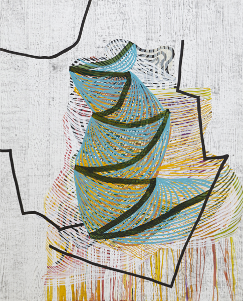 Pining, 2014, by Alyse Rosner, abstract, multicolor, fine line and woodgrain pattern, graphite and acrylic painting on yupo.