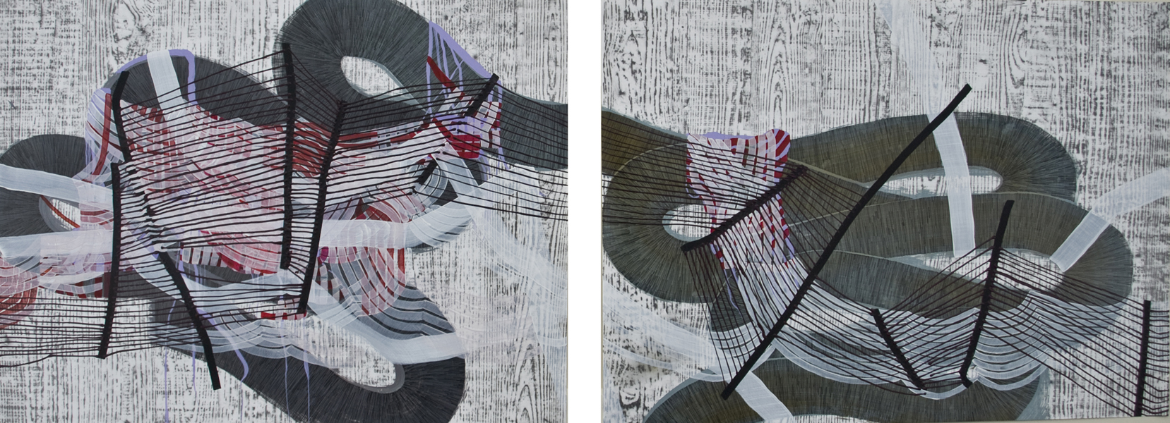 Roam (diptych), 2015, by Alyse Rosner, multicolor, serpentine, fine line and woodgrain pattern, graphite, ink and acrylic painting on yupo.