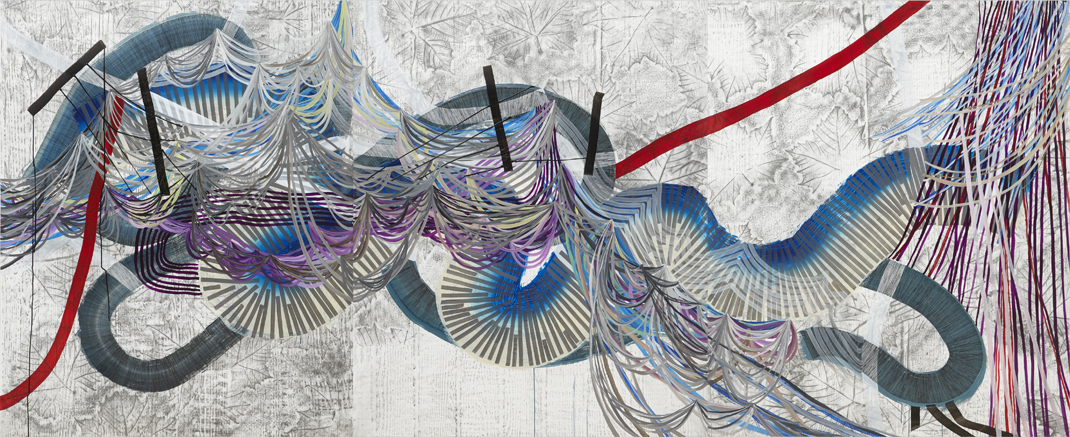 Mirage, 2015, by Alyse Rosner, multicolor, fine line, leaf and serpentine patterns, graphite, ink, and acrylic paint on yupo triptych.