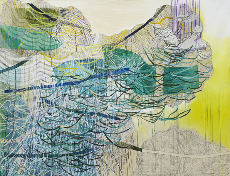 My Dreams Are Not Calm, 2015, by Alyse Rosner, abstract, multicolor, fine line pattern, graphite, ink and acrylic painting on canvas.