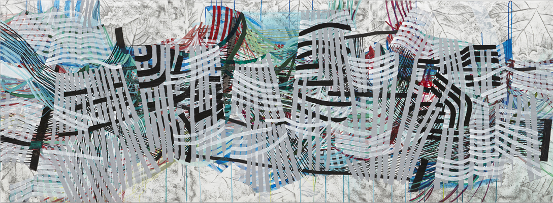 Span, 2015, by Alyse Rosner, multicolor, fine line, leaf and grid patterns, graphite, ink, and acrylic paint on yupo triptych.