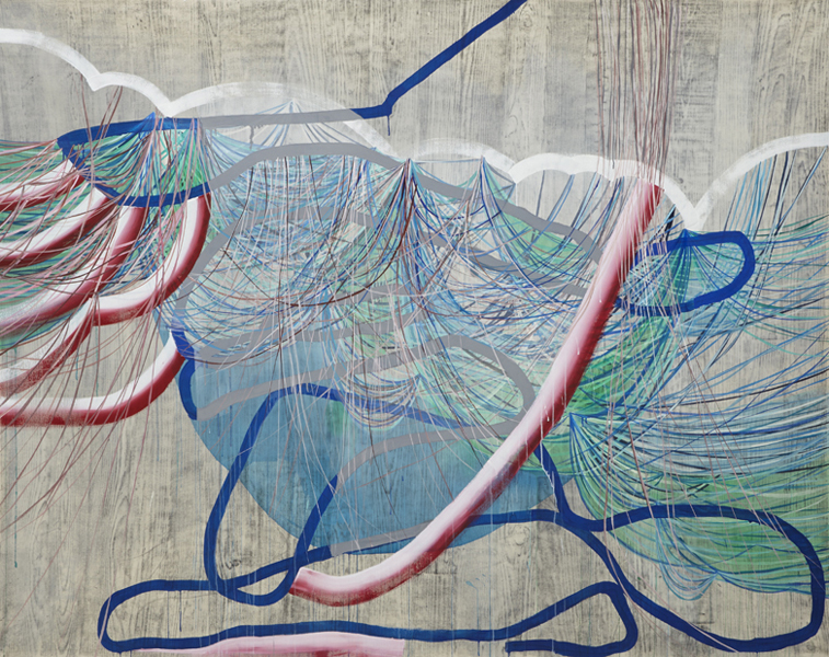 Whichever the Way, 2015, by Alyse Rosner, abstract, multicolor, fine line and serpentine pattern, graphite, ink and acrylic painting on canvas.