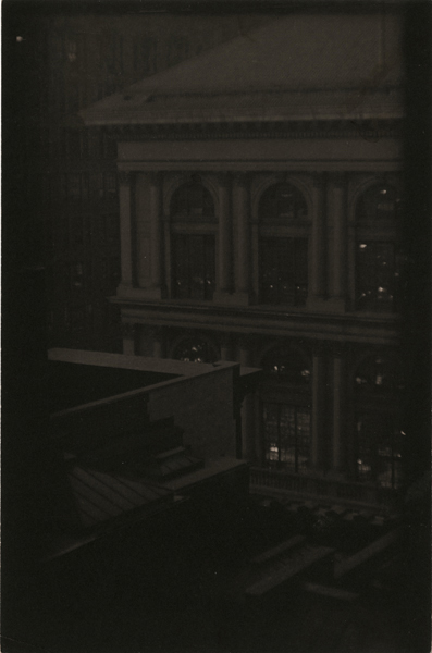 Corner View of a Classical Building, New York , ca. 1923 Palladium print 9 1/4 x 5 3/4 inches