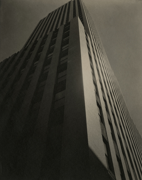 New York Daily News Building, 220 East 42nd Street (Following the Lines of a Skyscraper) , ca. 1930 Waxed Platinum print 9 1/2 x 7 3/8 inches