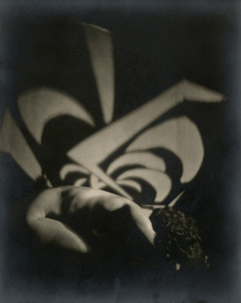 Untitled (Nude with design),  1925–1930 Gelatin silver print 9 1/2 x 7 1/2 inches