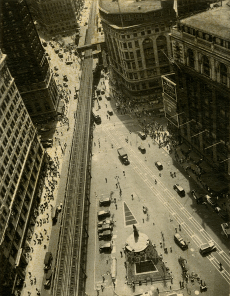 Herald Square with El , ca. 1927 Wax platinum print 4 3/4 x 3 5/8 inches