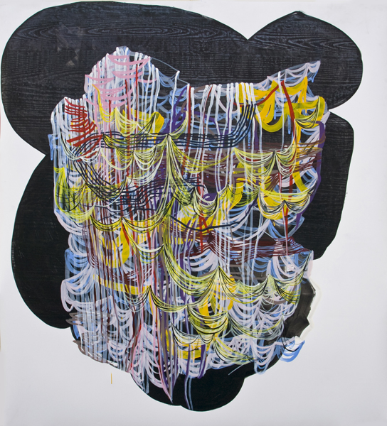 Fray, 2012, by Alyse Rosner, undulating, woodgrain and fine line pattern, multicolor, abstract, graphite, ink and acrylic painting on yupo.