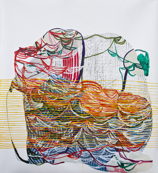 Lull, 2012, by Alyse Rosner, woodgrain and fine line pattern, multicolor, abstract, graphite, ink and acrylic painting on yupo