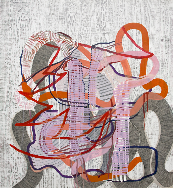 Ravel, 2012, by Alyse Rosner, woodgrain, serpentine and fine line pattern, multicolor, abstract, graphite, ink and acrylic painting on yupo.