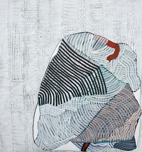 Something Familiar, 2012, by Alyse Rosner, woodgrain, semi circle and fine line pattern, multicolor, abstract, graphite, ink and acrylic painting on yupo