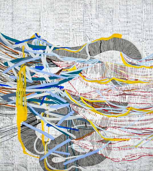Split (blue), 2012, by Alyse Rosner, woodgrain, serpentine and fine line pattern, multicolor, abstract, graphite, ink and acrylic painting on yupo.