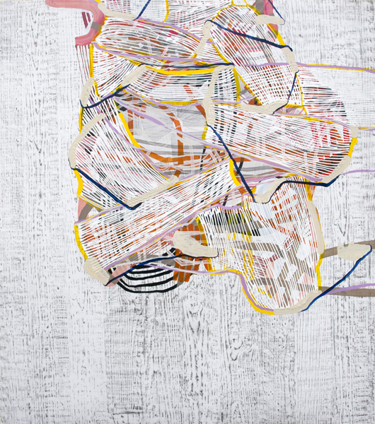 Swathe, 2012, by Alyse Rosner, woodgrain, grid and fine line pattern, multicolor, abstract, graphite, ink and acrylic painting on yupo.