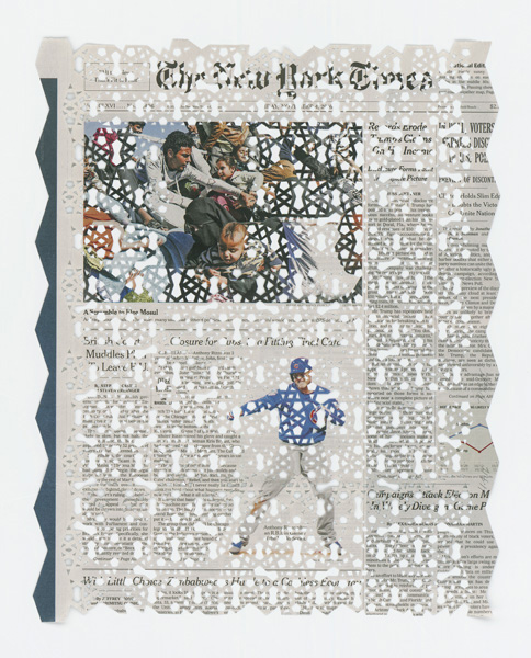 Donna RUFF  11.4.16 , 2016 Hand cut pattern on deacidified newspaper 15 x 12 inches