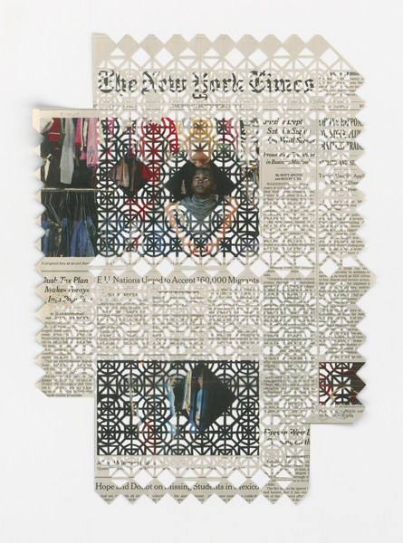 Donna RUFF  9.10.15 , 2015 Hand cut pattern on deacidified newspaper 15 1/2 x 11 inches