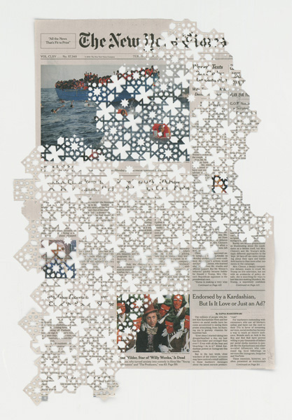 Donna RUFF  8.30.16,  2016 Hand cut pattern on deacidified newspaper 19 x 12 3/8 inches