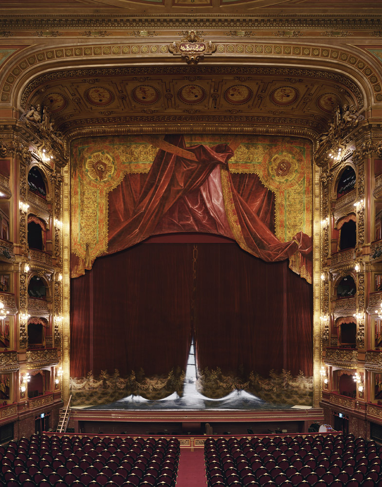 Curtain, Teatro Colón, Buenos Aires, Argentina, 2010, by David Leventi. Archive print on Dibond of the stage curtain inside the Colón Theatre