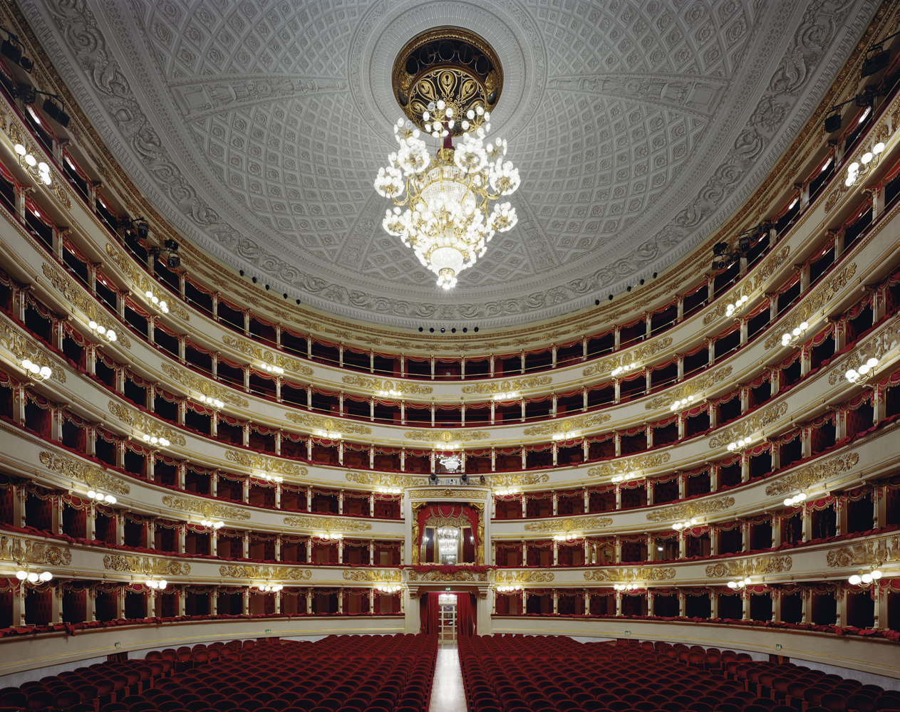 Teatro alla Scala, Milan, Italy, 2008, by David Leventi. Fujicolor Crystal Archive print on Dibond of the interior of the La Scala opera house.