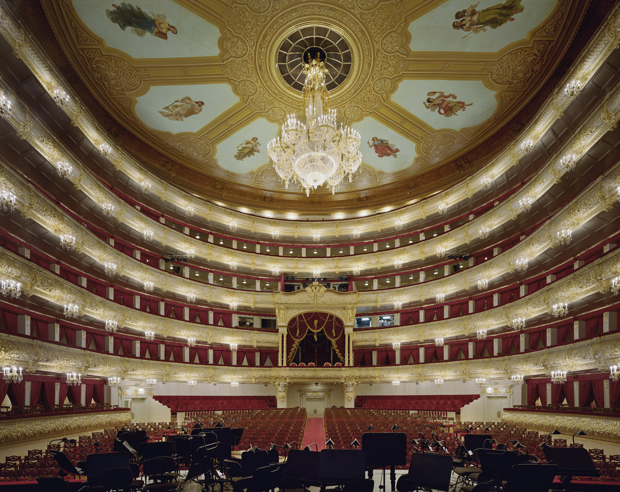 Bolshoi Theater, Moscow, Russia, 2011, by David Leventi. Fujicolor Crystal Archive print of the theater interior, mounted to Dibond.