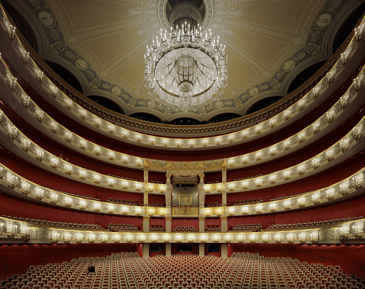 Bayerische Staatsoper, Munich, Germany, 2009, by David Leventi. Archive print on Dibond of the interior of the Bavarian State Opera.
