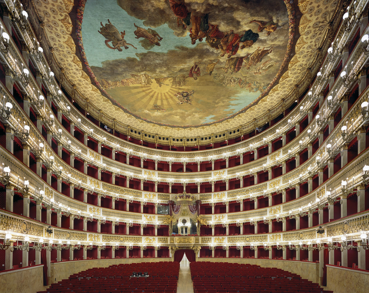 Teatro di San Carlo, Naples, Italy, 2009, by David Leventi. Fujicolor Crystal Archive print on Dibond of the interior of the San Carlo Theatre.