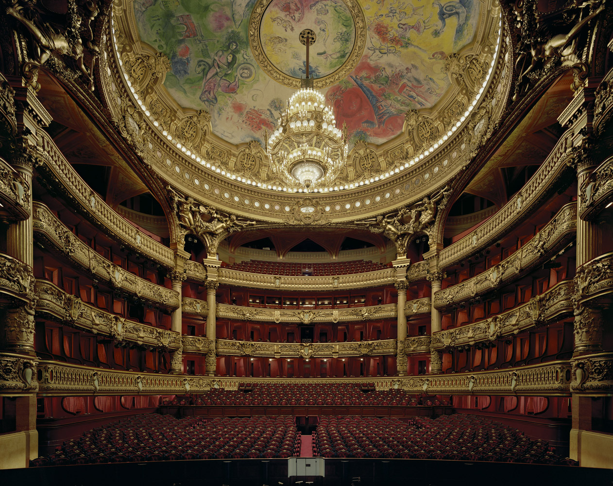 Palais Garnier, Paris, France, 2009, by David Leventi. Fujicolor Crystal Archive print of the interior of the opera house, mounted to Dibond.