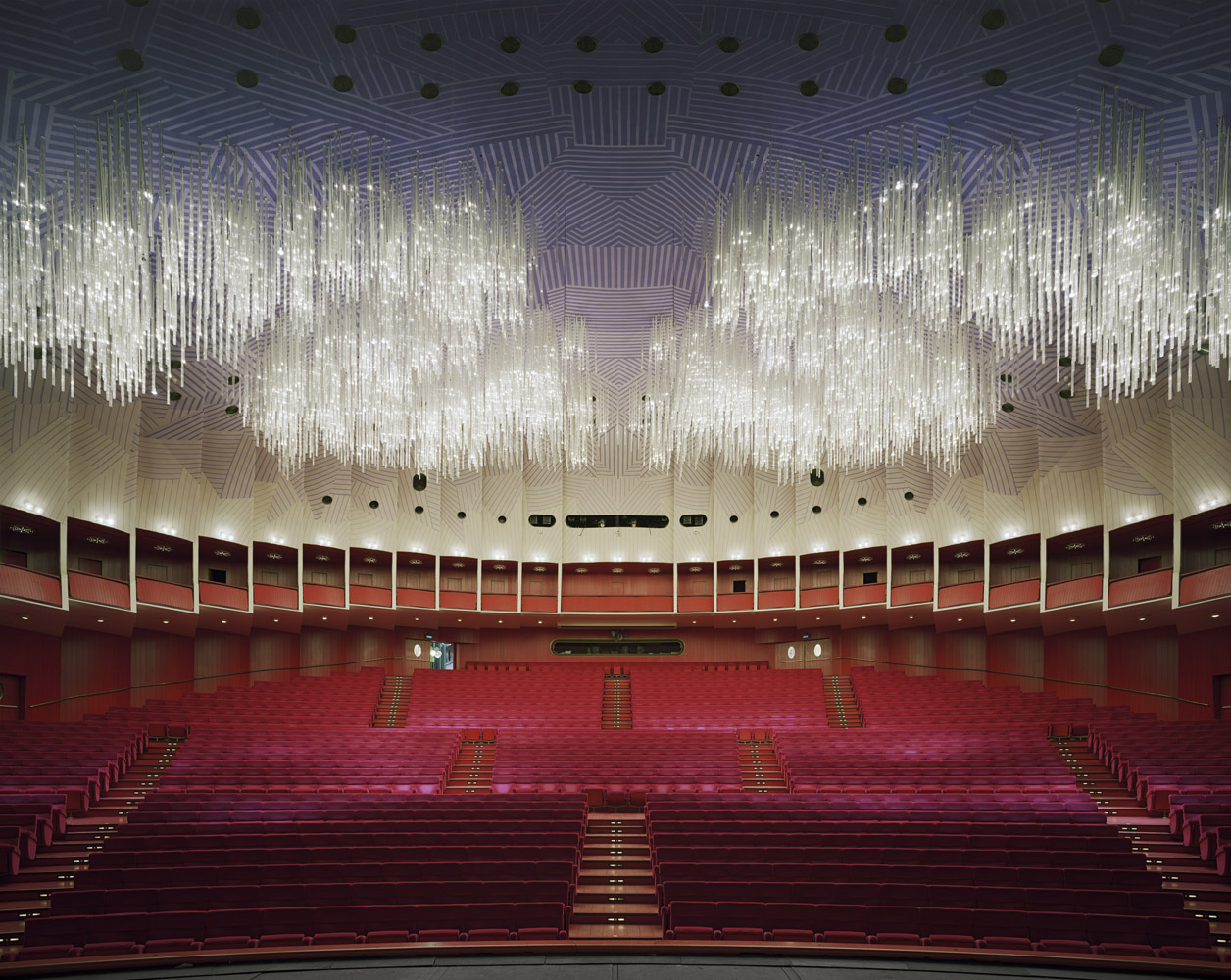 Teatro Regio, Italy, 2010, by David Leventi. Fujicolor Crystal Archive print of the interior, mounted to Dibond.