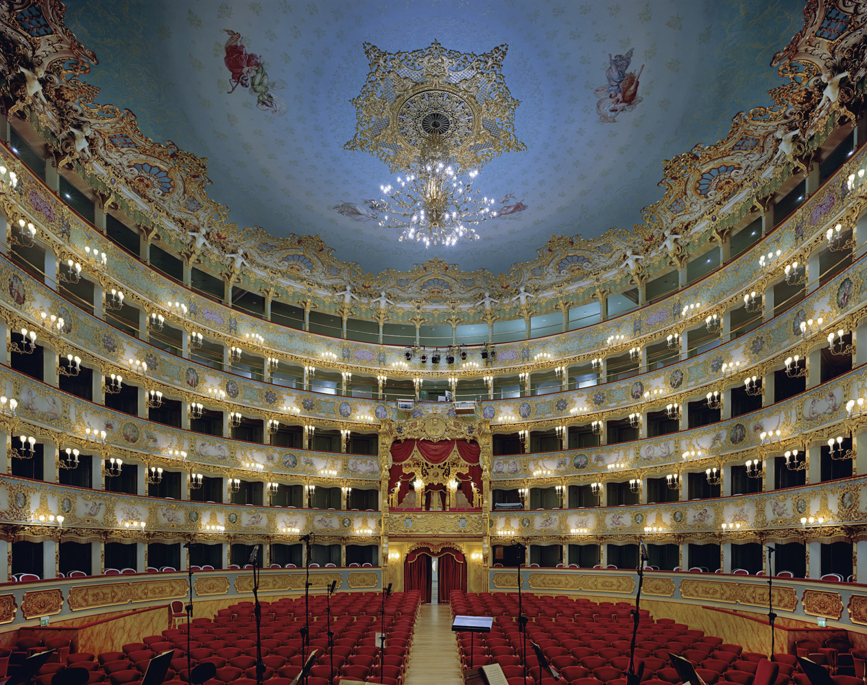 La Fenice, Venice, Italy, 2008, by David Leventi. Fujicolor Crystal Archive print of the interior of the opera house, mounted to Dibond