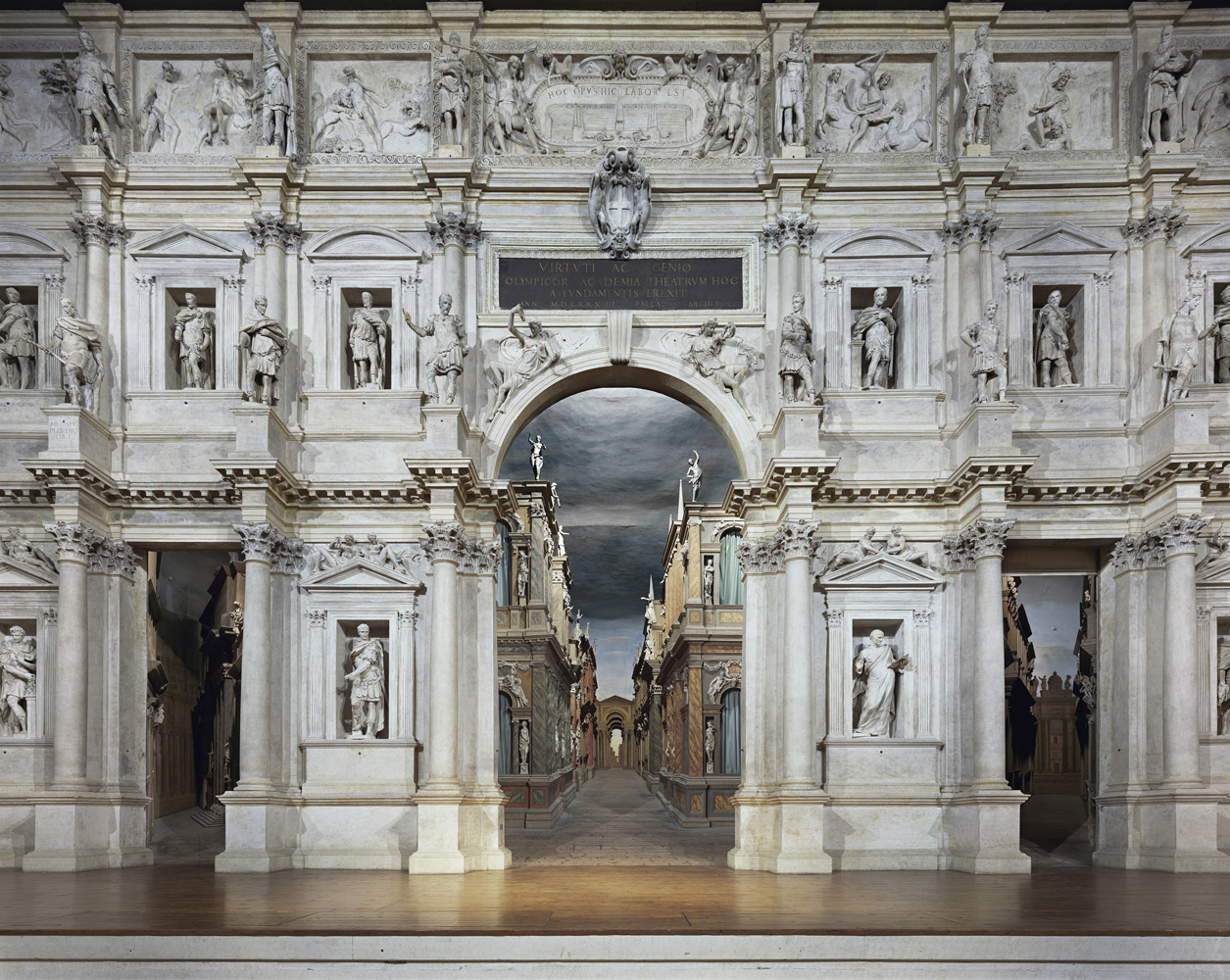 Teatro Olimpico, Vicenza, Italy, 2010, by David Leventi. Fujicolor Crystal Archive print on Dibond of the interior of the Olympic Theatre.