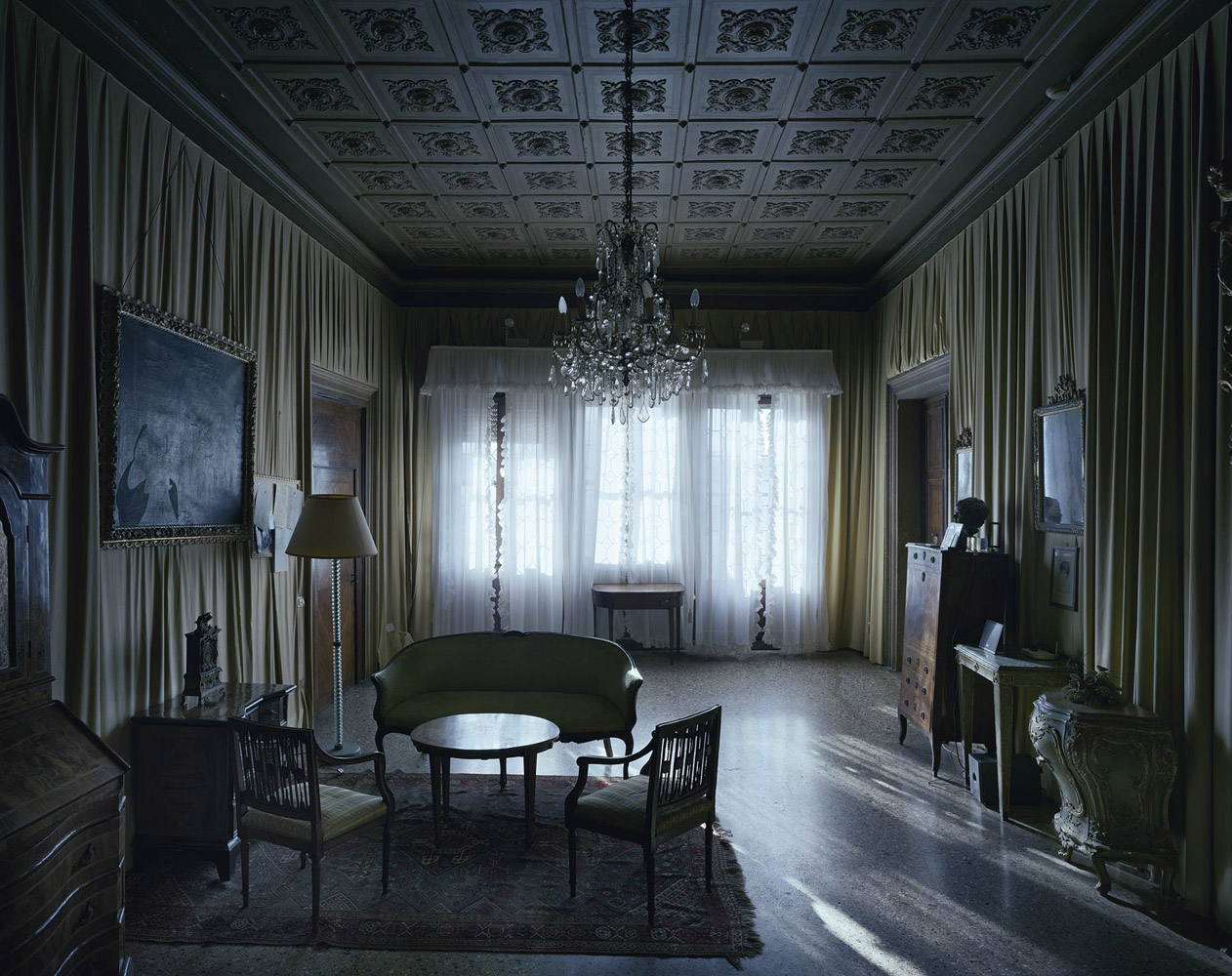Palazzo Barbarigo Minotto, Venice, Italy, 2012, by David Leventi. Fujicolor Crystal Archive print of an interior palace room, mounted to Dibond.