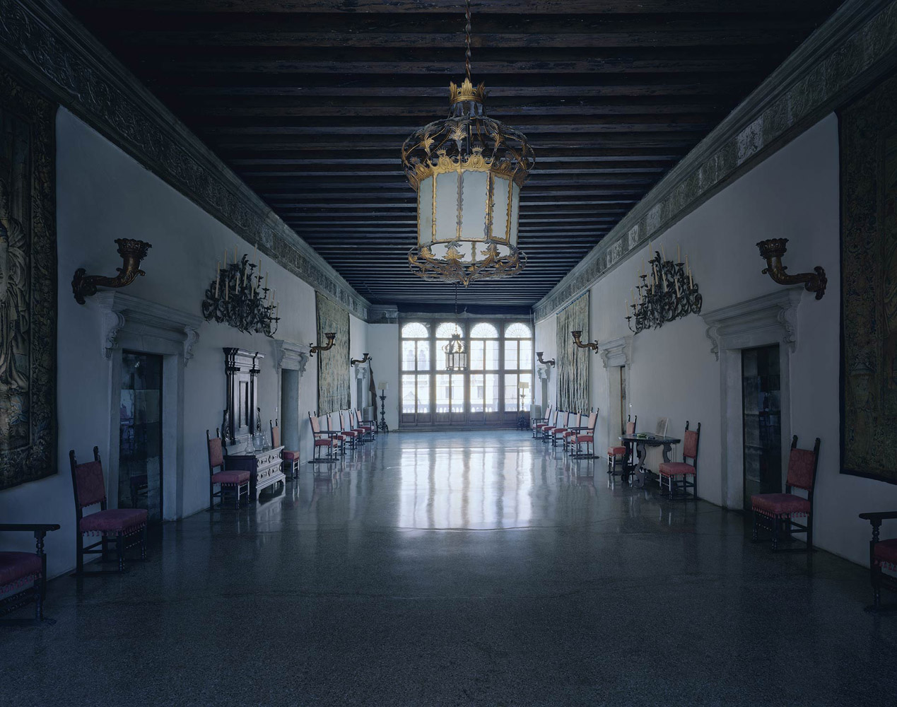 Palazzo Contarini Polignac, Venice, Italy, 2012, by David Leventi. Fujicolor Crystal Archive print of an interior palace room, mounted to Dibond