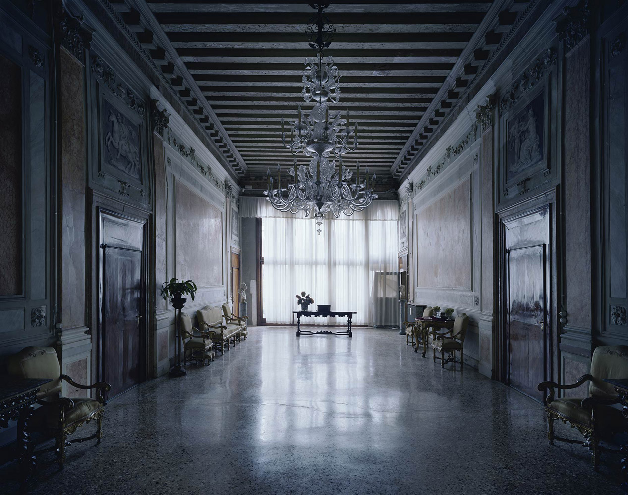 Palazzo Contarini Corfu Dagli Scrigni, Venice, Italy, 2012, by David Leventi. Archive print of an interior palace room, mounted to Dibond.
