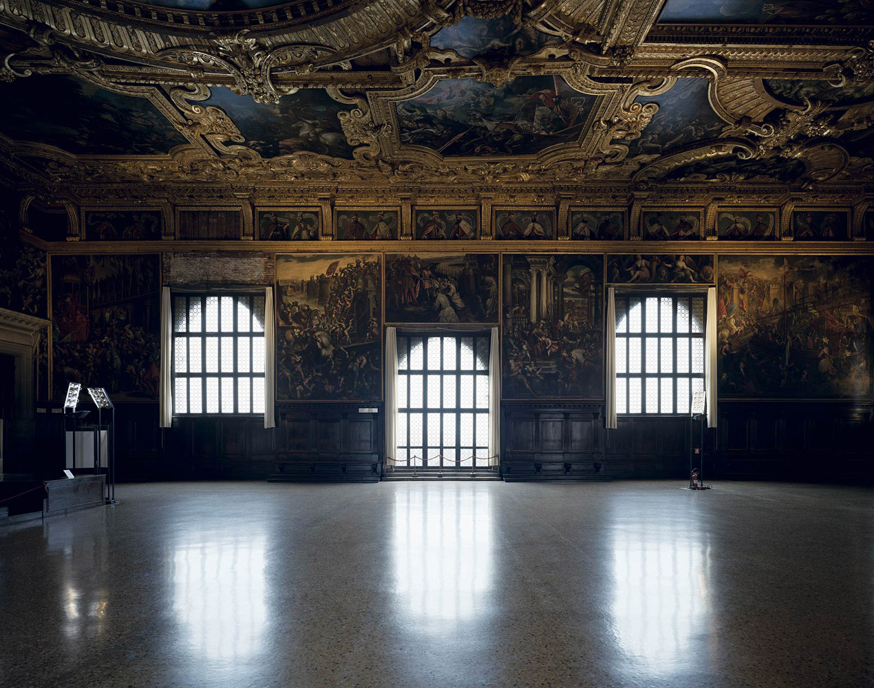 Palazzo Ducale, Venice, Italy, 2012 by David Leventi. Archive print of an interior palace room, mounted to Dibond