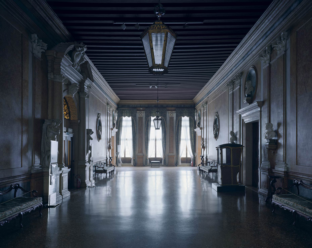 Ca' Rezzonico, Venice, Italy, 2012, by David Leventi. Fujicolor Crystal Archive print of an interior palace room, mounted to Dibond.