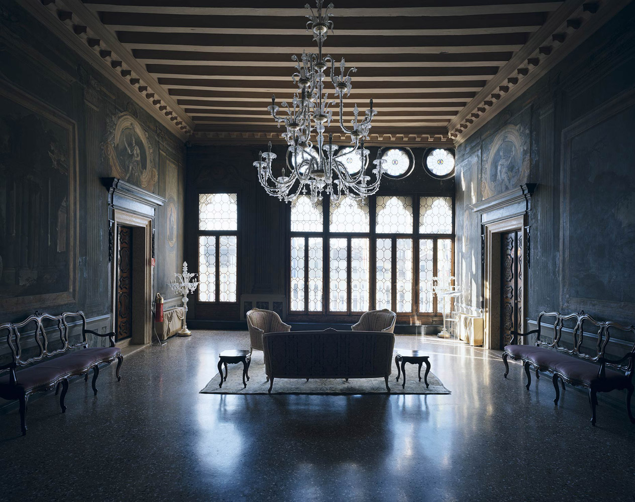 Ca' Sagredo, Venice, Italy, 2012, by David Leventi. Fujicolor Crystal Archive print of an interior palace room, mounted to Dibond.
