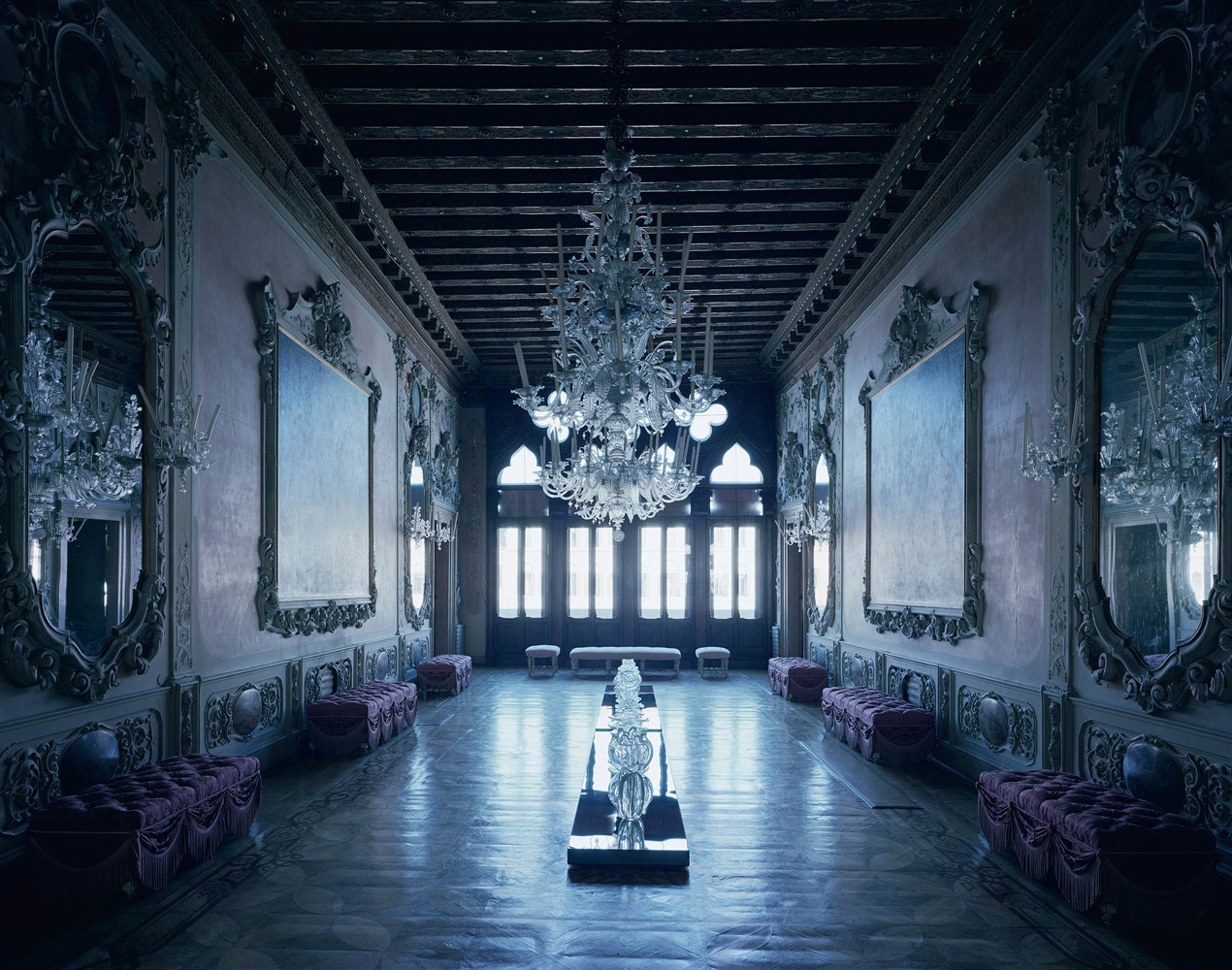 Palazzo Giustinian Dalle Zogie, Venice, Italy, 2016, by David Leventi. Archive print of an interior palace room, mounted to Dibond