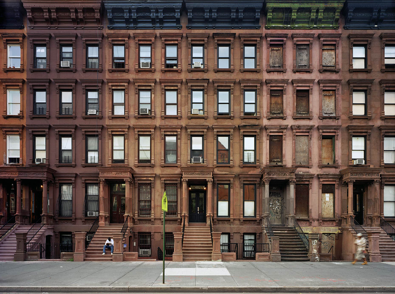 Brownstones, Lenox Avenue, Harlem, New York, 2005-2007, by David Leventi. Print on Dibond of the exterior street view of brownstone apartments