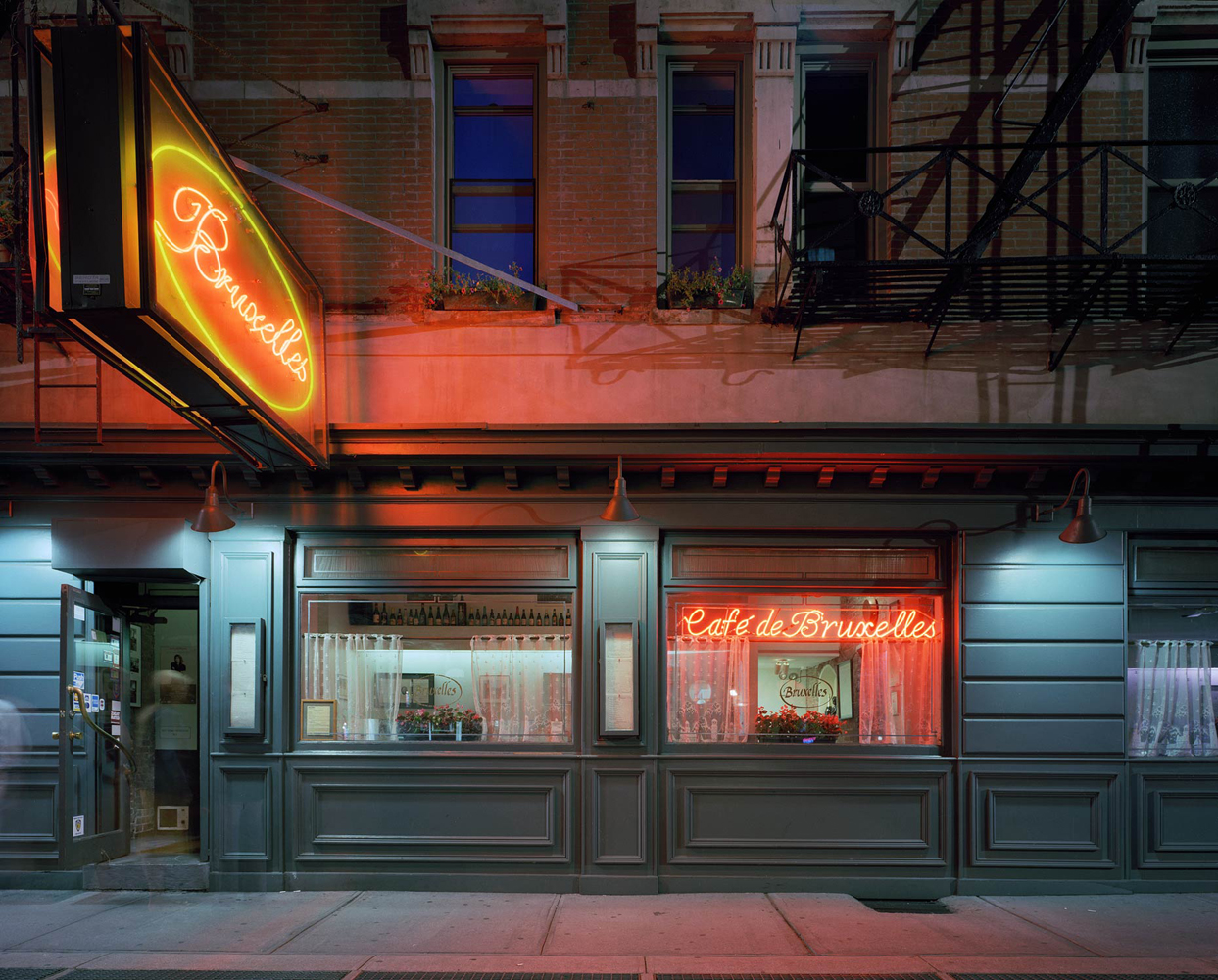 Cafe de Bruxelles, 118 Greenwich Avenue, West Village, New York 2005-2007, by David Leventi. Print on Dibond of the exterior and neon signs at night.
