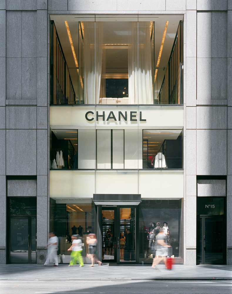 Chanel, 15 East 57th Street, New York, New York, 2005-2007, by David Leventi. Print on Dibond of the store and building exterior, with Chanel logo.