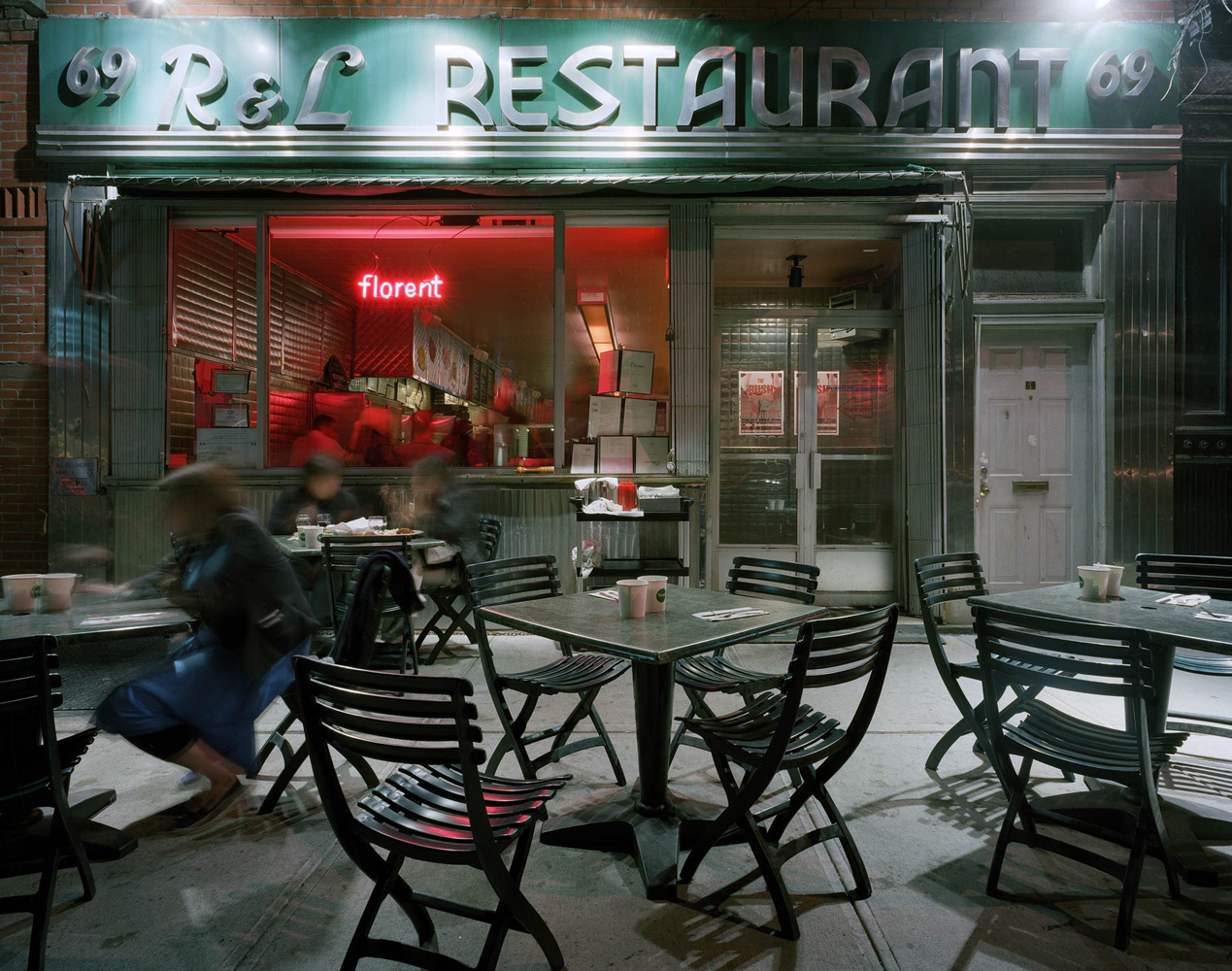 Florent, 69 Gansevoort Street, Meatpacking District, New York, 2005 -2007, by David Leventi. Print on Dibond of café's outside seating at night.